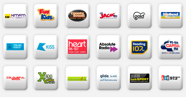 a selection of london radio stations